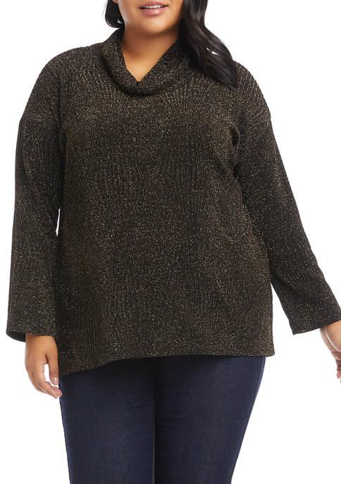 Karen Kane Plus Size High Low Turtleneck Top