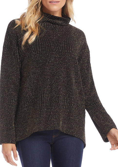 Karen Kane Womens High Low Glitter Turtleneck Sweater