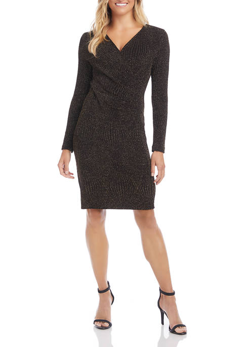 Womens Glitter Faux Wrap Dress