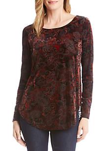 Velvet Burnout Shirttail Top