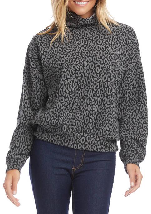 Karen Kane Womens Cheetah Jacquard Mock Neck Top