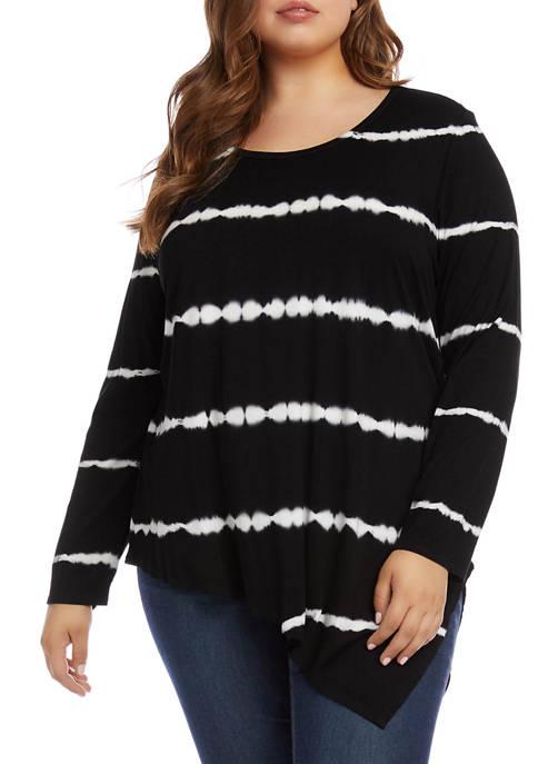 Karen Kane Plus Size Asymmetric Tie Dye Tunic