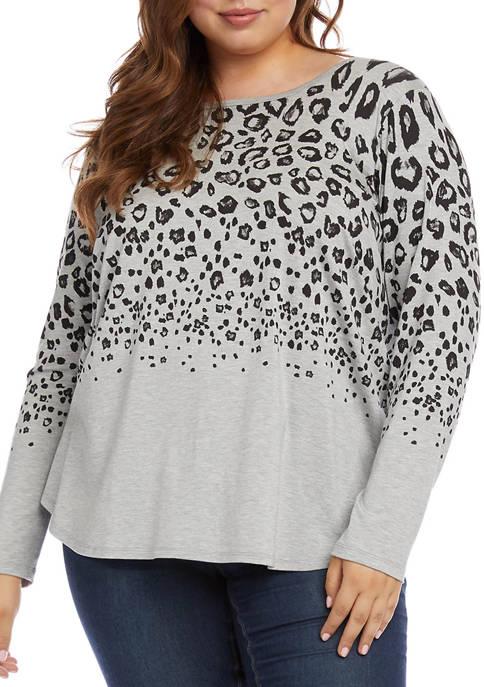 Karen Kane Plus Sizer Leopard Print Shirttail Knit