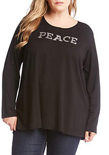 Plus Size Peace High Low Top