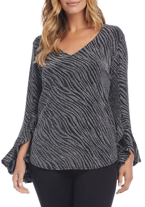 Womens Metallic Zebra Ruffle Sleeve Top