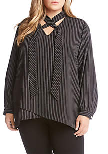 Plus Size Stripe Tie-Neck Crossover Top