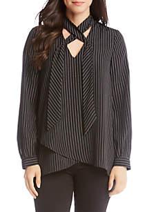 Stripe Crossover Tie Neck Top
