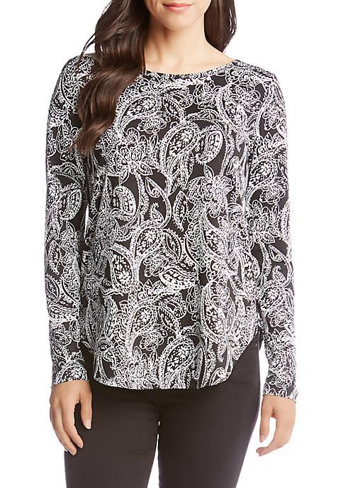 Karen Kane Long Sleeve Paisley Print Shirttail Top