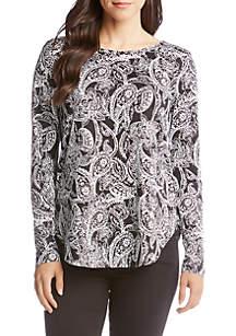 Long Sleeve Paisley Print Shirttail Top