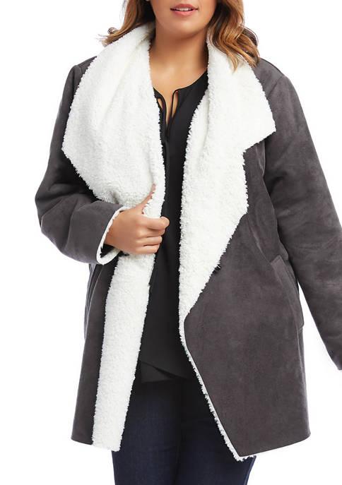 Karen Kane Plus Size Faux Shearling Coat