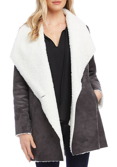 Karen Kane Womens Faux Shearling Coat