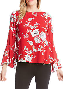 Bell Sleeve Boat Neck Top