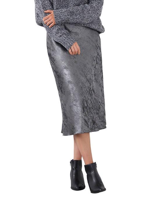 Womens Metallic Midi Skirt