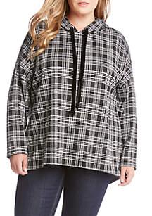 Karen Kane Plus Size Velvet Tie Hoodie