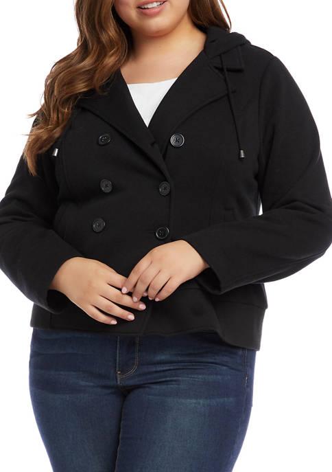 Plus Size Hooded Knit Jacket