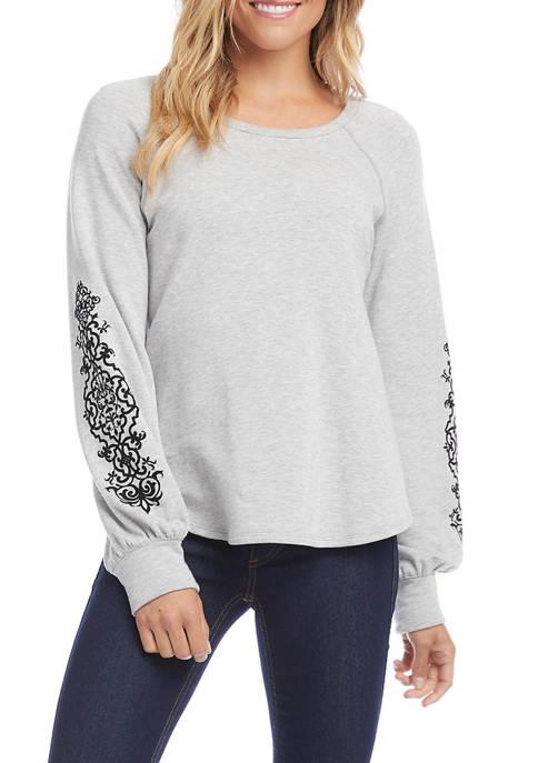 Karen Kane Womens Flocked Sleeve Sweater