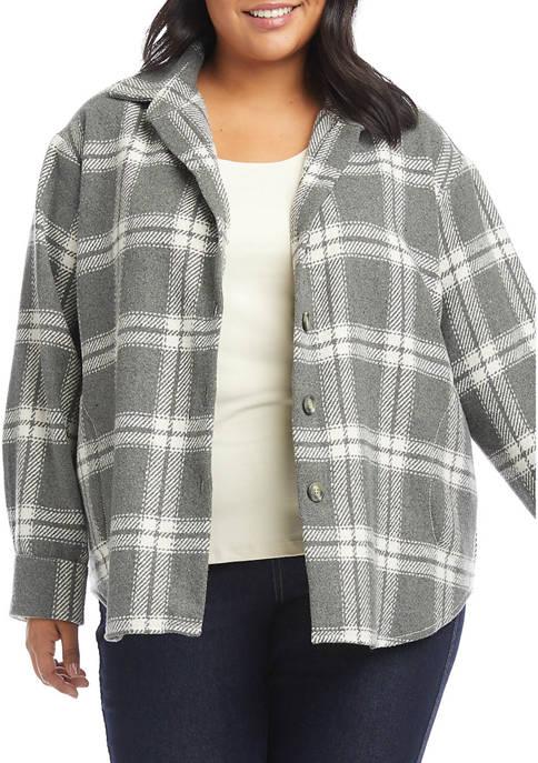 Karen Kane Plus Size Windowpane Jacket
