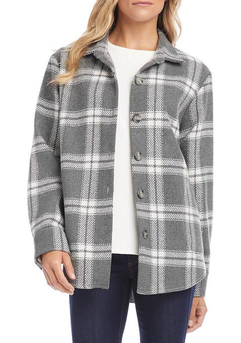 Karen Kane Womens Windowpane Shirt Jacket