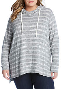 Plus Size Stripe Hooded Top