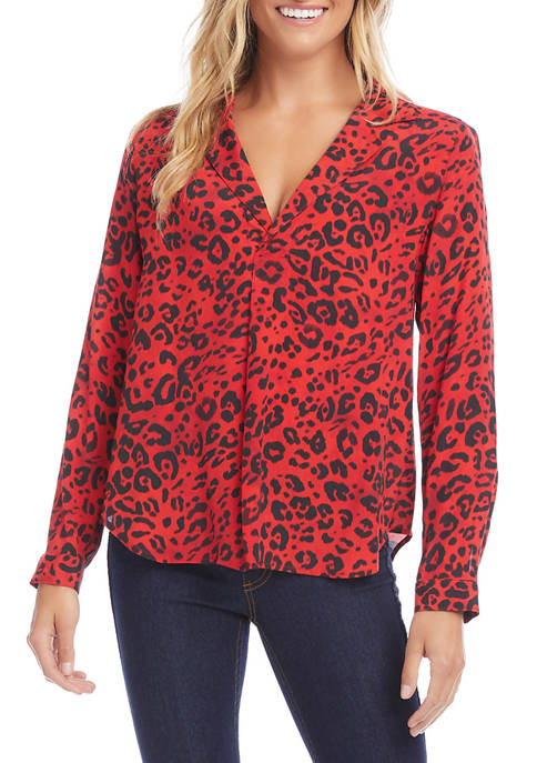 Womens Cheetah Print Long Sleeve Blouse