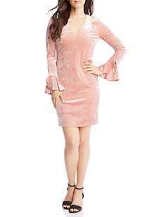 Crush Velvet Ruffle Sleeve Dress