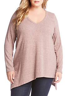 Karen Kane Plus Size Asymmetrical V-Neck Top