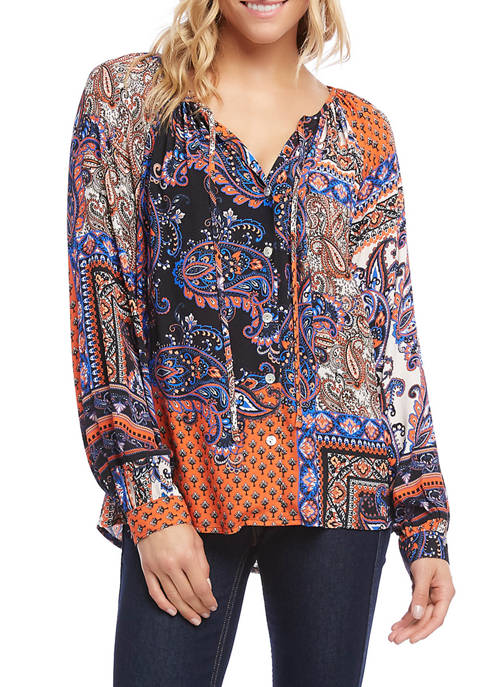 Karen Kane Womens Button Up Peasant Top