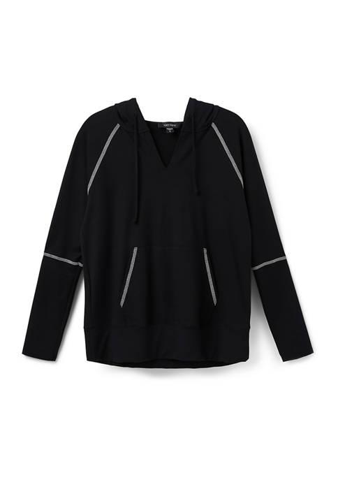 Karen Kane Petite Contrast Stitch Hooded Sweatshirt