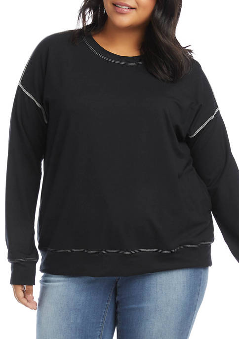 Karen Kane Plus Size Contrast Stitch Sweatshirt