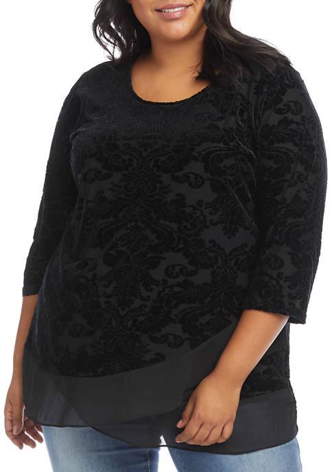 Karen Kane Plus Size Velvet Burnout Sheer Hem