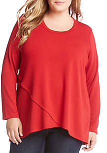 Plus Size Long Sleeve Crossover Sweater