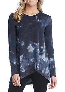 Tie Dye Crossover Sweater Top