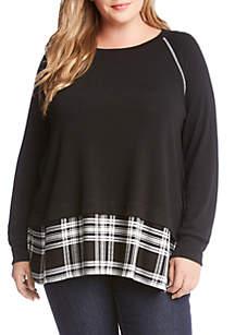 Plus Size Plaid Hem Sweater