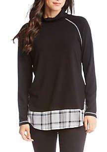 Plaid Hem Turtleneck Sweater