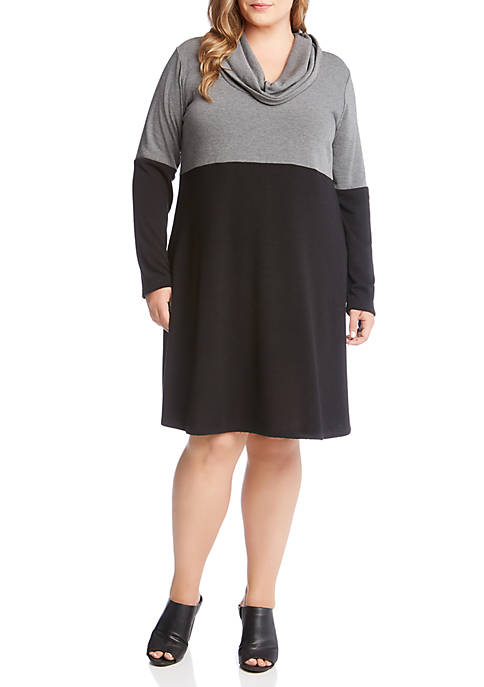 Karen Kane Plus Size Cowl Neck Taylor Dress
