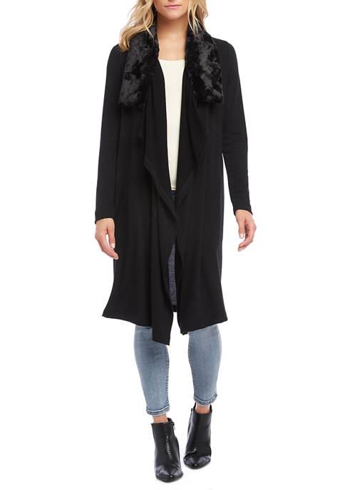 Karen Kane Womens Faux Fur Collar Duster Cardigan