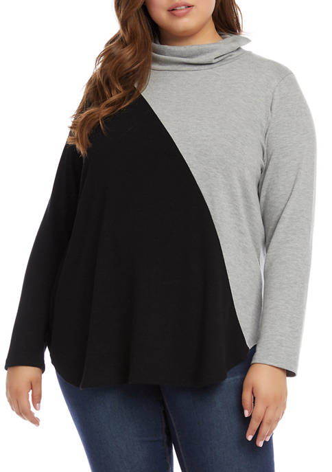 Karen Kane Plus Size Contrast Turtleneck Sweater