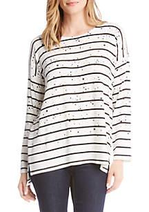 Star Print Striped Sweater