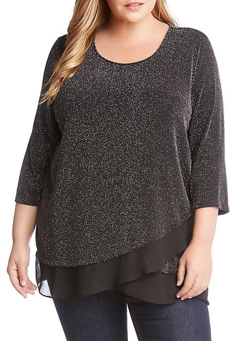 Plus Size 3/4 Sleeve Sheer Hem Top