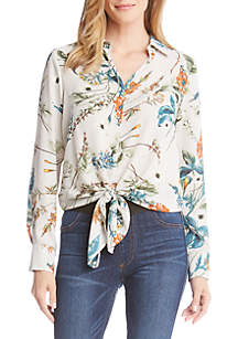 Floral Tie Front Shirt