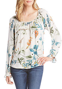 Long Ruffle Cuff Sleeve Floral Top
