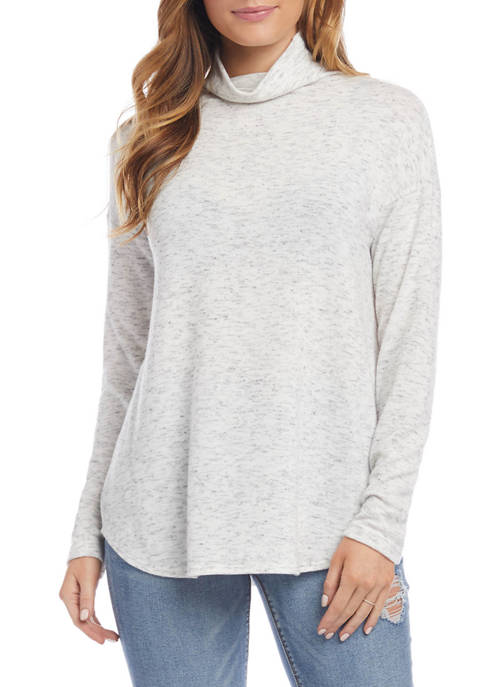 Womens Heather Funnel Neck Shirttail Top