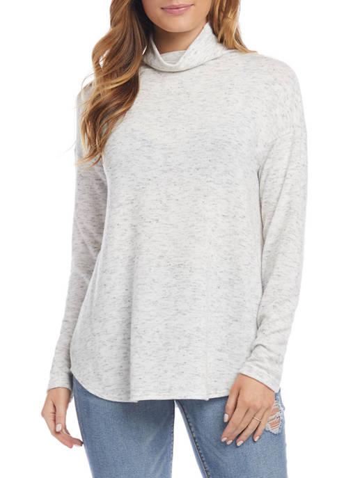 Karen Kane Womens Heather Funnel Neck Shirttail Top