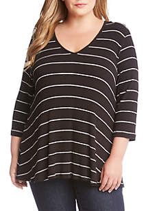 Plus Size 3/4 Sleeve Striped Top