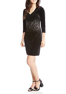 Karen Kane Metallic Splatter Print Dress