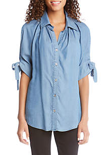Elbow Tie Sleeve Button Up Top