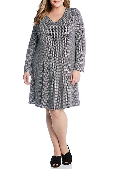 Karen Kane Plus Size Basketweave Fit and Flare
