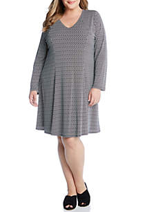 Plus Size Basketweave Fit and Flare Dress
