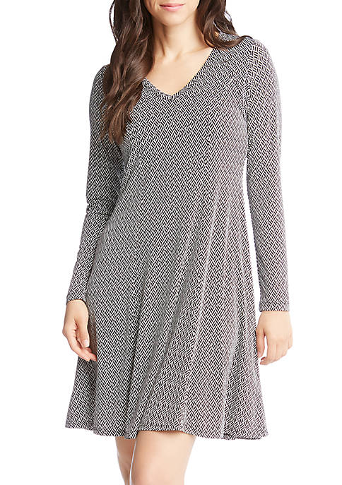 Karen Kane Basketweave Fit and Flare Dress