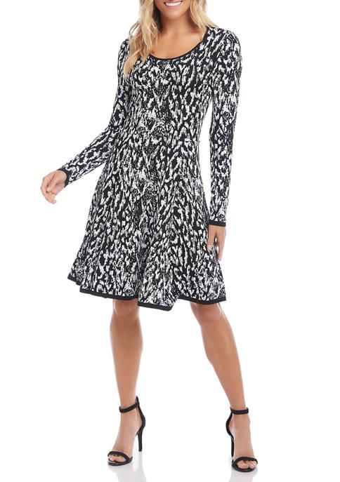 Womens Long Sleeve Animal Jacquard Dress